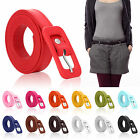 NewLadies Womens Skinny Thin Fashion PULeather Waist Buckle Belt Various Colours