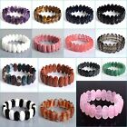 20mm Faceted gemstone oval beads stretchable bracelet 8""