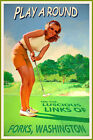 FORKS WASHINGTON New Original Golf Travel Poster Putter PinUp Girl Art Print 225