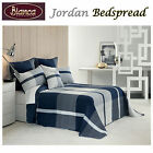 Jordan Blue Embroidery Bedspread + P/cases SINGLE King Single DOUBLE QUEEN KING