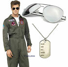 Top Gun Tom Criuse Deluxe Fancy Dress Costume Jumpsuit Avaitor Sunglasses Dogtag