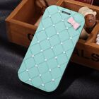 For Samsung Galaxy S3 I9300 Cute Bow Pearl Luxury Leather Flip Hard Case Cover