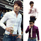 New Mens Luxury 9 Colors Stylish Casual Slim Casual Long Sleeve Dress Shirts DUS