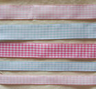 SATAB 25mm OR 15mm GINGHAM RIBBON  ASSORTED COLOURS AND LENGTHS