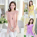 Womens Asymmetrical Hem Floral Scoop Collar Summer Chiffon Blouse Tops T-Shirts