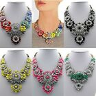 Women Gorgeous Fluorescence Acrylic Flower Necklace Statement Chunky Collar Hot