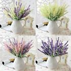 12 Heads Artificial Lavender Flower Leaves Bouquet For Wedding Home Garden Party