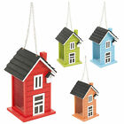 Hanging Wooden Bird House Seed Feeder Mesh Removable Roof Chain Hanger Garden