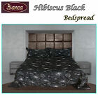 Hibiscus Black Embroidery Bedspread + P/cases - DOUBLE QUEEN KING