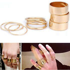 9PCS/Set Punk Gold Wide Band Shiny Ring Stack Plain Above Knuckle Midi Ring