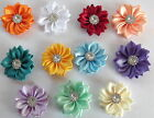 5 x Silk Ribbon flowers with beautiful crystal centre - 4cm - crafts, headbands