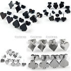 Pick Poker Style Stainless Steel Fake Cheater Illusion Ear Plugs Earrings Studs
