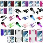 Colors Hybrid Hard Case+Accessory Bundle Charger For Samsung Galaxy Note II 2