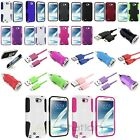 Colors Hybrid Hard Case+Cord+DC Charger+Holder For Samsung Galaxy Note 2 N7100