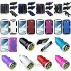 Colors Hybrid Stand Case+Dual USB DC Charger+Holder For Samsung Galaxy Note II 2