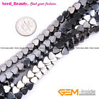 "Magnetic  Heart Shaped Black Hematite Beads Jewelry Making Strand 15"" SD7951-V"