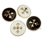 12 Pcs Shank Button Metal Sewing Embellishments Novelty Black White Flower 20mm