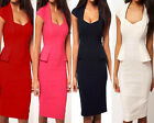 Womens Elegant OL Square Neck Evening Club Pencil Bodycon Mini A Dress E553