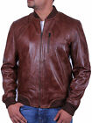 UK Men's All Leather Vintage Biker Jacket Brown Summer Retro Style Bomber Jacket