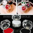 12 Clear Crystal Ring Box Earrings Brooch Storage Display Case Jewelry Organizer