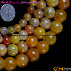 Fashion round yellow crackle agate gemstoneJewelry Making loose bead strand 15""
