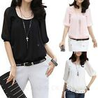 Black/Pink/White Ladies Tee Womens Sexy Shirt Vintage Chiffon Top Summer Blouse
