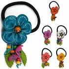 """Handmade"" Leather Flower Ponytail Holder Hair Tie Bow Charm Anemone eia4"