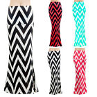 Women's Fashion Waist Banded Chevron Rayon Long Maxi Dress Skirts cjas6