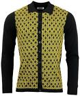 NEW MOD 60s 70s RETRO PRINT OVERLOOK KNITTED POLO SHIRT CARDIGAN HONEYCOMB MC174