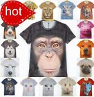 Men Women's Cool 3D Animals Dog Cat Wolf Mouse Pig Round Top Tee Funny T-shirt