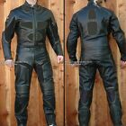2pc Thunder Downhill Skating Skateboarding Street Luge Leather Suit Black Armor