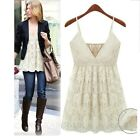 Vintage V Neck Blouse Lace Camisole Crochet Summer Vest Ladies Top sz 10 12 8 6