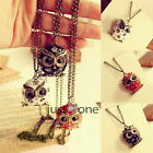 Antique Womens Retro Shiny Rhinestones Owl Pendant Long Necklace Sweater Chain