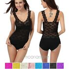 Hot Lace Vest Top Deep V-neck Sexy Casual Tank Slim Fit Sleeveless Blouse UK