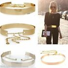 Ladies Full Metal Mirror Waist Belts Metallic Plated With Chains Decor Waistband