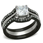 Wedding Ring Set Black Stainless Steel Cushion AAA CZ 1.8 Ct Women's Non Tarnish