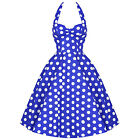 Hell Bunny Meriam Blue Polka Dot Vintage 50s Rockabilly Pinup Swing Prom Dress