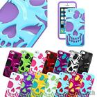 For Apple iPhone 5S 5 5C Hybrid Skull Case Girly Cute Adorable Hard Gel Covers