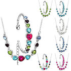 18K White Gold Plated Heart Chain 6 Colors Crystal Glass Bracelet Necklace Set