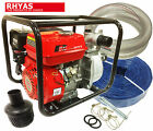 """2"""" Petrol Water Pump+ Fittings Lay Flat Suction Hoses Delivery Discharge"""