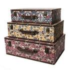Large Shabby Vintage Chic Floral Design Decorative Storage Suitcases Chests