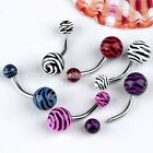 1x Punk Stainless Steel 14G Zebra Tiger Print Belly Navel Button Rings Piercing
