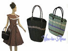 Retro Vtg 1940's 1950's style Plastic woven Beach Picnic Shopping Basket Bag