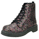 T.U.K. Multi Coloured Glitter 7 Eye & Zipped Vegan Anarchic Ankle Combat Boots
