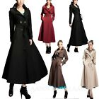 Womens Long Trench Coat Belted Jacket Ladies Full Length Pocket Coats sz 6-16