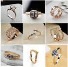 2014 Engagement Rings Gift 18K Rose Gold GP Swarovski Crystal Cocktail Wedding