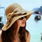 Trendy Style lady Bow Wide Large Brim Straw Girl Cap Summer Beach Sun Hat