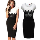 Women's Celeb Day Shift Two-tone Bodycon Wear To Work Party Evening Mid Dress