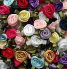 Mini Satin Ribbon Roses with Satin Leaves Choose Your Colour/Pack Size Free P&P