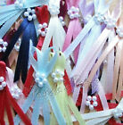 3mm Satin Ribbon Long Tail Double Bows with 5 Pearl Beads, Choose Colour/Pk Size